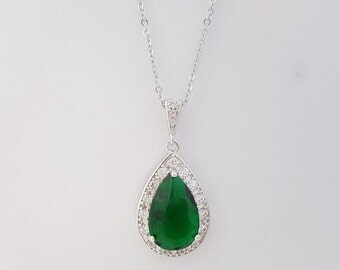 Green Bridal Necklace Wedding Jewelry Large Emerald Green Cubic Zirconia Teardrop Necklace Pendant Silver Wedding Jewelry, Esmeralda