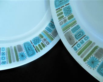 "Texas Ware Melmac 10"" Dinner Plates, Mayan, Atomic Mid Century Modern J3"