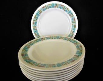 "Texas Ware Melmac 7"" Plates, Mayan, Atomic Mid Century Modern J4, lot of 8"