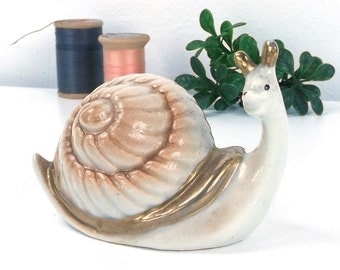 vintage 60's porcelain snail figurine collectible decorative home decor mid century modern retro animal insect woodland creature shell cute