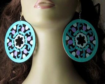 Extra Large Mandala Earrings, Round Ornament Earrings, Flower Statement Earrings, Laser Cut, Hand Painted Wood, Basketball Wives