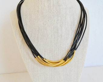 Black Leather Multi Cord Necklace with Gold Tubes : By BALOOS STUDIO