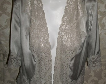 Gray Silk Bed Jacket By Express Size Small
