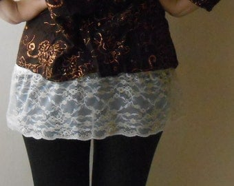 Lace Shirt Extender, Lace Half Slip Extender Top, Trendy layering under Sweater Size Small