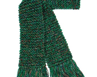 Green Scarf, 6 ft Long Chunky Knit Scarf, Emerald Green Multicolor Scarf, Men Women Winter Scarf