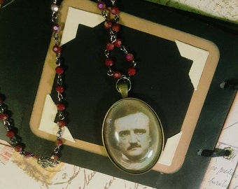 Vintage Photo Print Pendant Edgar Allan Poe Necklace Assemblage