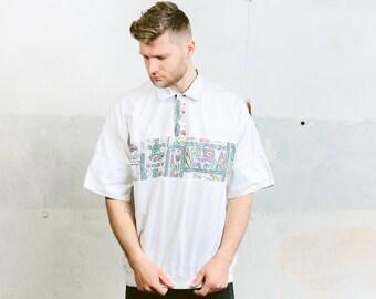 80s T-Shirt . White Polo Shirt Graphic Print T-shirt Summer Short Sleeve Mens Shirt 1990s Grunge Shirt . size Large