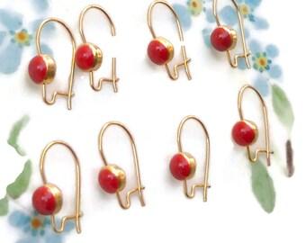 Vintage Earring Wires Kidney Ear Wires Gold Tone Earwires findings Red Enamel vintage findings, retro findings #1376C