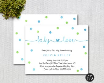 """Blue and Green Baby Love Baby Shower Invitation, Size A2 4.25 x 5.5"""", Printable Invitation, 4231"""