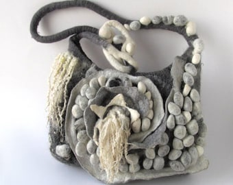 Messenger bag  Original  bag Unique Felted  handbag  textile art handbag felt purse  Grey crossbody bag textile art by Galafilc
