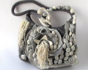 Messenger bag  Original  bag Unique Felted  handbag  textile art handbag felt purse  Grey crossbody bag textile art by Galafilc