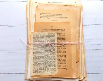 Old Vintage Book Pages / 20 Pieces / Hymnal / Bible / Dictionary