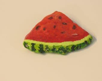 Rock paintings, food art, watermelon slice, hand painted stones, paperweights
