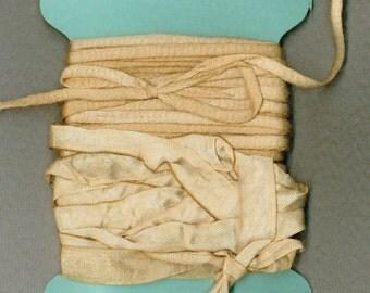 15 yards seam binding, flat cotton, tea dyed gift wrap ,scrapbooking ,french ribbon rustic paris apt 1277
