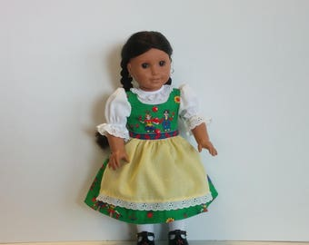 Hansel and Gretel Dirndl for American Girl and Other 18 inch Dolls