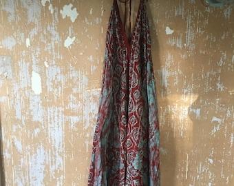 SALE vintage.  70s Red Batik Cotton Halter Tent Dress // Free Size // Rare
