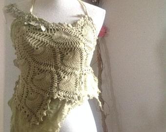 Pinecone forest magic crochet dance festival top