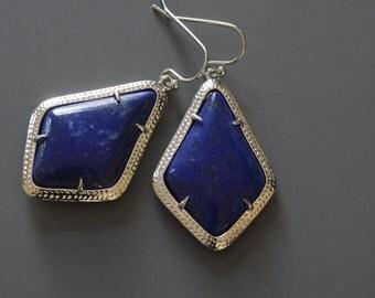 Lapis Lazuli Earrings, Dangle Earrings, Real Stone Earrings, Large Stone Earrings, Blue Gemstone Earrings, Everyday Earrings