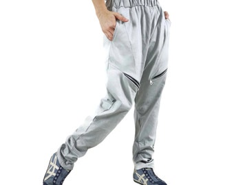 Unisex Funky Hip Hop Hipster Smoke Grey Cotton Pants With Sideseam 2 Pockets and Elastic waist band