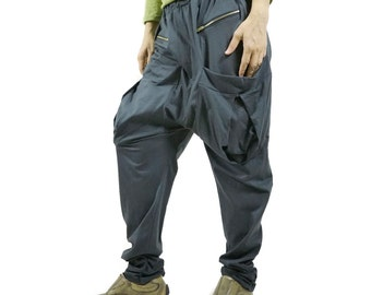 Men Women Funky Ninja Harem Charcoal Grey Cotton Jersey Drop Crotch Pants With Patched & Zipped Pockets