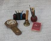 Miniature Lot, Pencil Holder, Bell, Books, Clock  Vintage Dollhouse Furniture Mini Craft Supply, School, Desk Theme