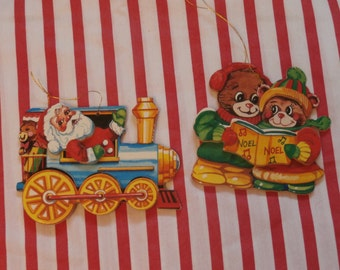 2 Vintage Giftco Wood Christmas Ornaments Wooden Decorations, Santa Train and Teddy Bears
