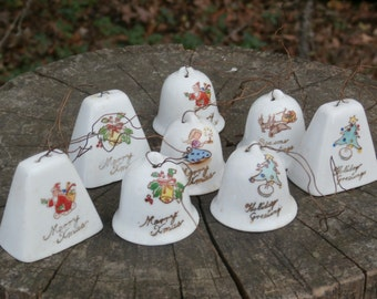 8 Vintage Christmas Bells, Vintage China Bell Ornaments for Your Tree, Made in Japan