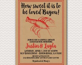 Crawfish Boil Invite, Couples Shower, Crayfish Party, Groom Shower, Crawdad Cookout, Bayou Boil, Wedding Shower, Digital File Printable 5x7