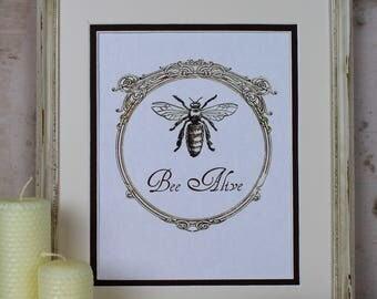 Honeybee Art Instant Download Digital Illustration Vintage Bee Hive Cottage Chic Honey Frame Home Decor Scrapbooking Printable