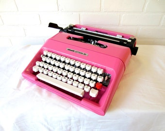 Cotton Candy Pink Olivetti Lettera 35l Typewriter - Angelica - Professionally Serviced