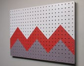 pegboard organizer - Taupe - Crimson - Dorian Gray – acrylic on pegboard - home décor - wall art -  functional artwork