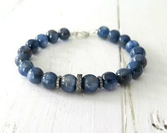 Diamond Pave Kyanite Bracelet, Pave Stacking Bracelet, Bohemian Diamond Jewelry, Luxe Blue Bracelet with Pave Diamonds, Boho Chic Summer