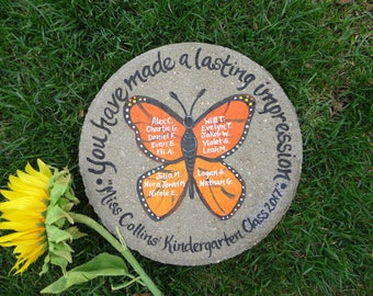 TEACHER GIFT, Hand Painted Stepping Stone, Retirement Gift, Painted Monarch Butterfly, Gift from Students, Gift for Teacher, Garden Gift