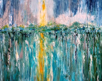 Moonshine abstract painting original oil abstract palette knife impressionism on canvas fine art by Karen Tarlton