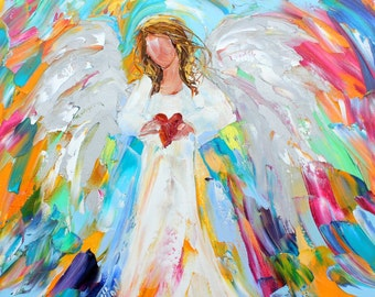 Angel of my Heart original oil painting abstract palette knife impressionism on canvas fine art by Karen Tarlton