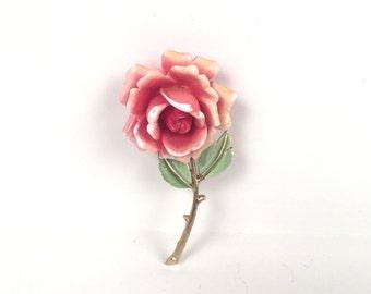 Vintage 1960s Pink Rose Brooch