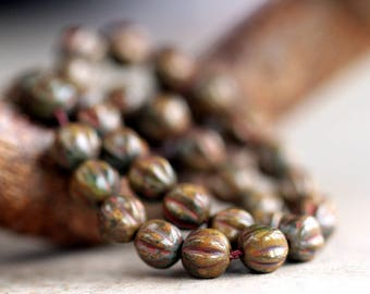 Brown Picasso Ridged Melon Beads, Czech Glass Beads, Fluted Round Melon Beads, 6mm, Brown Round glass beads (100pcs) NEW
