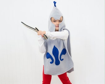 Kids Soldier Knight Tunic Vest - Handmade, Halloween, Costume, Grey, Gray, Fleece