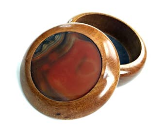 Banded Agate Box, Agate Lid Wooden Box, Lined Agate Wood Box, Vintage Wood and Agate Box, Round Agate Box, Stone Lid Wooden Box