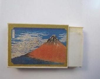 "Japanese Matchbox Fluid Cigarette Lighter W/ Japanese Woodblock ""Red Fuji"""