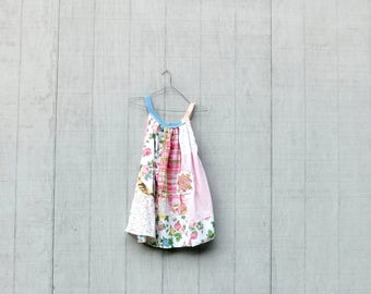 Loose Fit Dress, Summer Tank Dress, Tunic, Upcycled Patchwork, Easter Dress, Spring, Romantic, Bohemian, Boho, Gypsy, Aline, Wearable Art