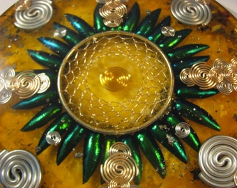 Orgone Mandala - Tiger Eye and Black Amber