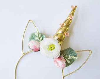 Girls unicorn flower crown. Unicorn birthday. Unicorn theme.