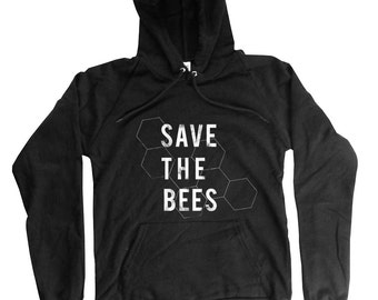 Save the Bees Hoodie - Organic Cotton Bees Hoodie - Long Sleeve bee Print - Small, Medium, Large, XL, 2XL