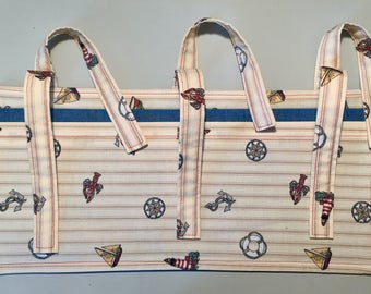 Nautical print Multi Pocket Walker Bag or Armrest bag