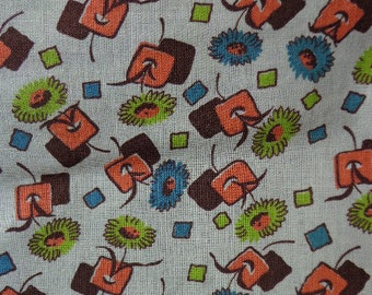 Vintage Feedsack Like Fabric with Small Floral /Geometric Pattern, 38 inches x one yard