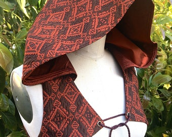"NEW: The Tribal Hooded Vest in ""Aztec"" Orange/Brown or Silver/White by Opal Moon Designs (Sizes S-XXL)"