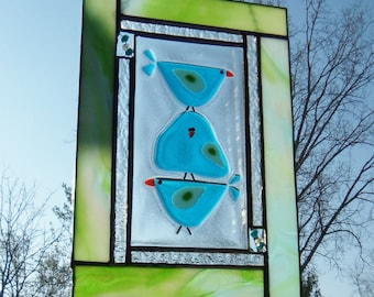 BLue Birds of Happiness // Stained GLass Panel // Small // One of a Kind // Fun // Whimsical // Bright // Folk Art // Wall // Family // Cute