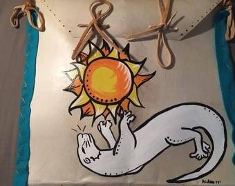 Native American Made Otter Parfleche bag Rawhide  medicine bag deer pow wow regalia