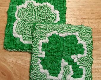 St Patrick's Day Locker Hook Mug Rugs ~~ Shamrock ~~ Kitchen Decor ~~ Spring ~~ Primitive Home Decor ~~ St Paddy ~~ FAAP ~~ OFG Team ~~ HDM